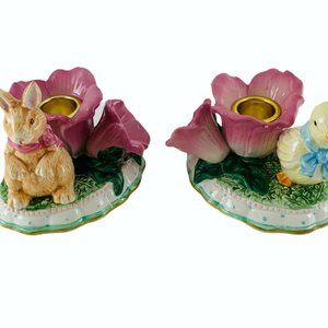AVON Springtime Easter Candle Taper Holders Duck &